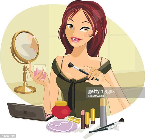 Schöne Frau, die Ihr Make-up