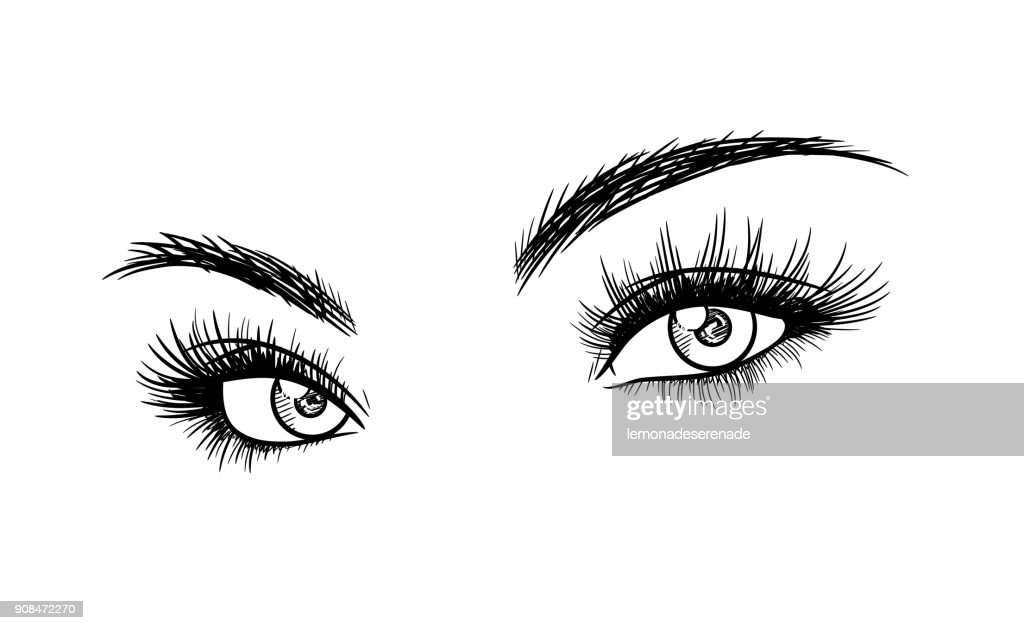 Beautiful Woman Eyes with Eyelash Extensions Sketch