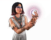 Beautiful woman fortune teller holding crystal ball
