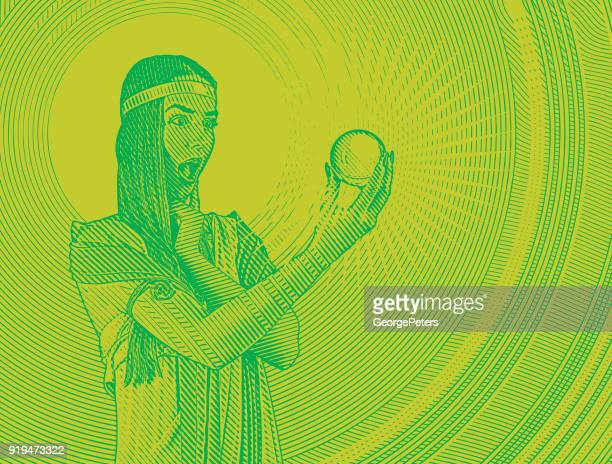 beautiful woman fortune teller with shocked expression holding crystal ball - magical equipment stock illustrations, clip art, cartoons, & icons