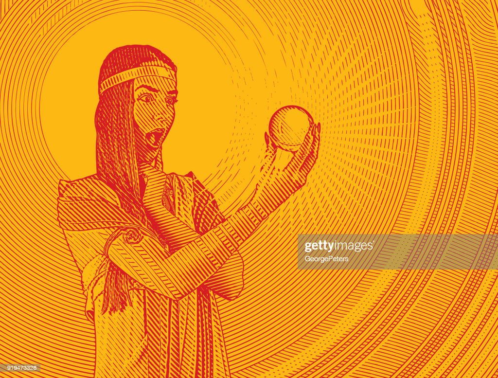 Beautiful woman fortune teller with shocked expression holding crystal ball : stock illustration