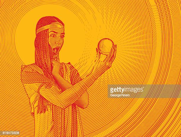 beautiful woman fortune teller with shocked expression holding crystal ball - fortune telling stock illustrations
