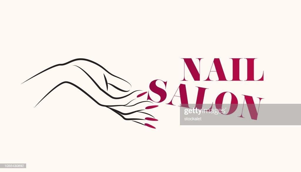 Beautiful woman hand with elegant red nail polish manicure.Nails art salon vector illustration.