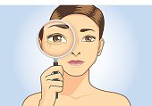 Beautiful woman magnifying wrinkle at her eye