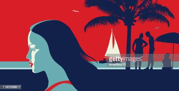 illustrations, cliparts, dessins animés et icônes de belle femme sur des vacances - femme bcbg
