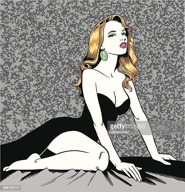 ilustrações de stock, clip art, desenhos animados e ícones de mulher bonita posando - mulher fatal