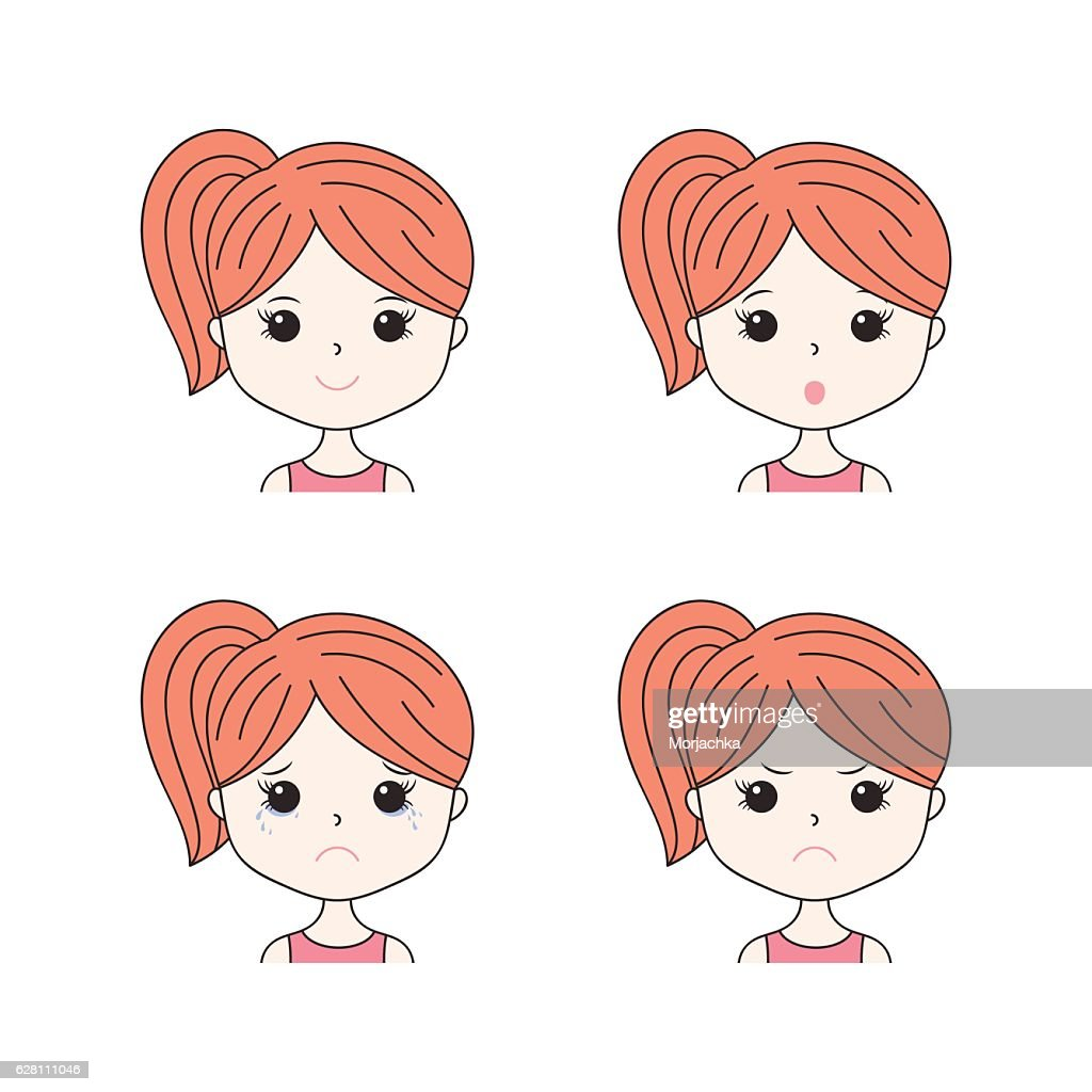 Beautiful woman showing various facial expressions. Happy, sad, angry, cry
