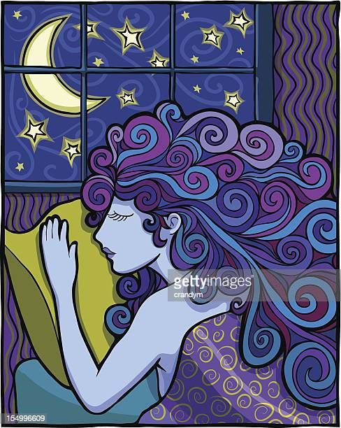 beautiful woman sleeping - blanket stock illustrations, clip art, cartoons, & icons