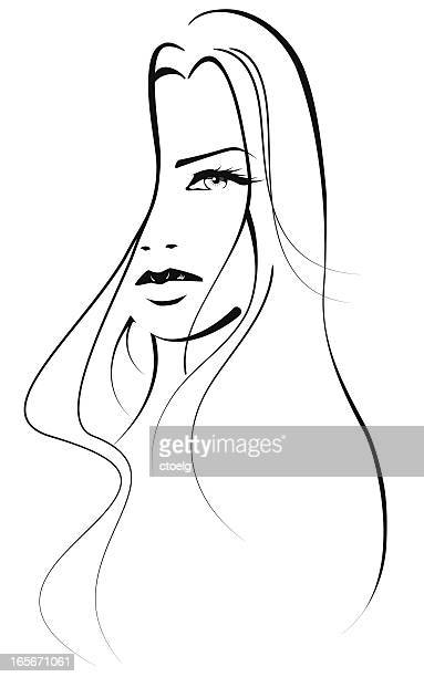 beautiful woman - straight hair stock illustrations