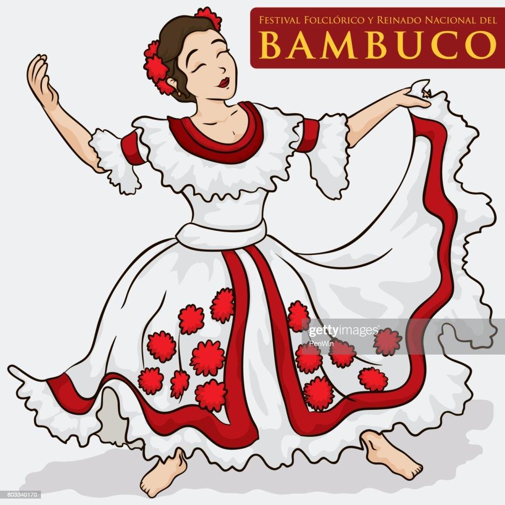 Beautiful Woman Wearing a Traditional Colombian Dress to Dance Bambuco