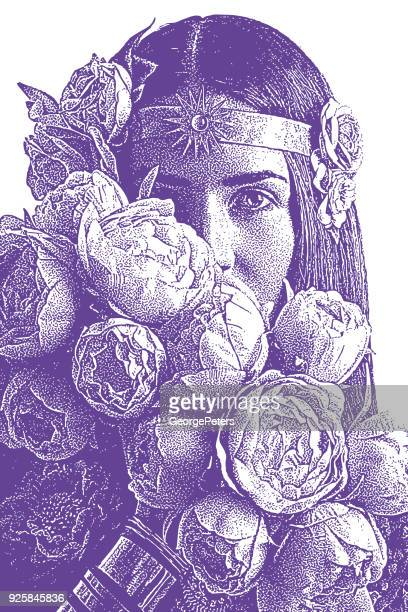 beautiful woman's face surrounded by peonies - goddess stock illustrations, clip art, cartoons, & icons