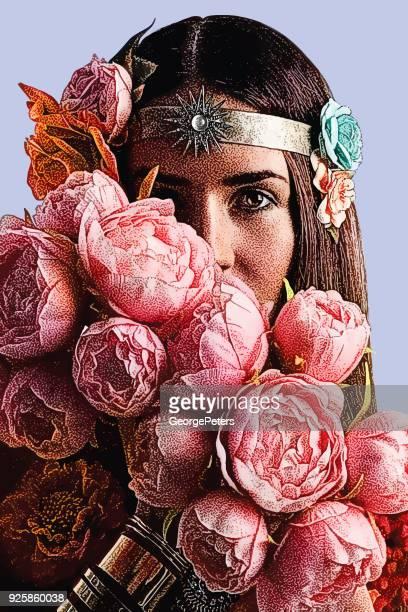 Mooie vrouw gezicht omgeven door pioenrozen