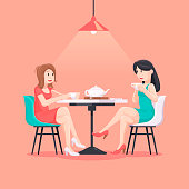 Beautiful women in a cafe illustration in pastel colors. Girlfriends. Friendship concept art. Friendship Day poster. Female friendship.