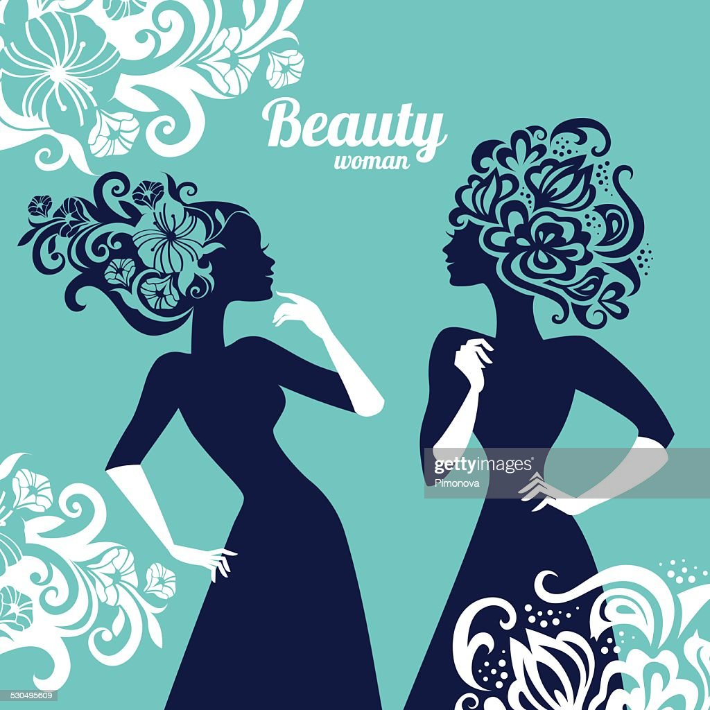 Beautiful women silhouette with flowers