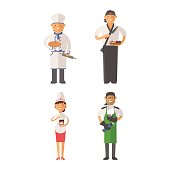 Beautiful young chef decorating delicious character vector