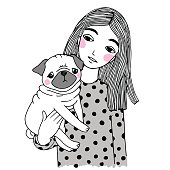 Beautiful young girl and a cute pug.