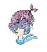 Beautiful young girl mermaid. Sea theme.