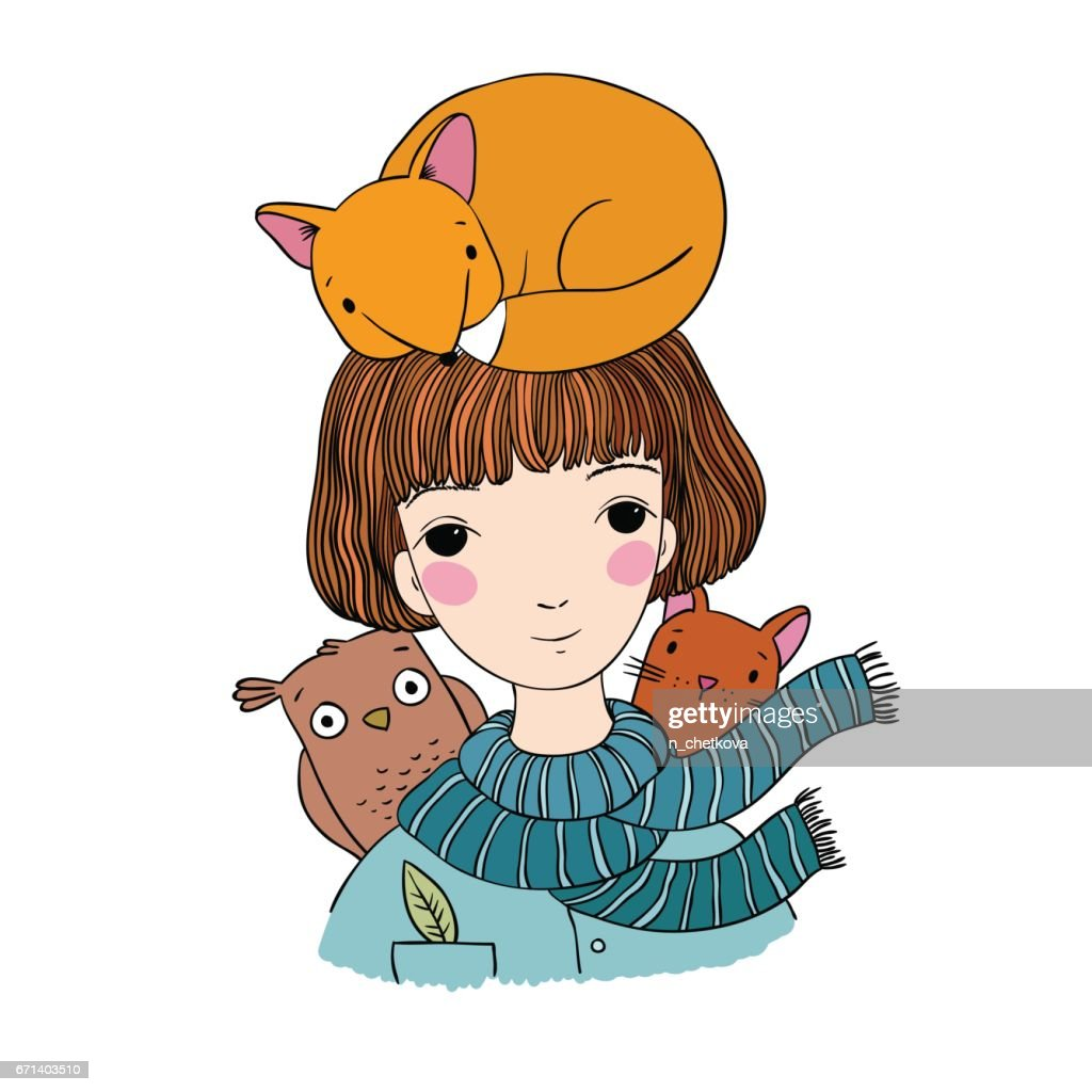 Beautiful young girl with short hair, a fox, a cat and an owl.