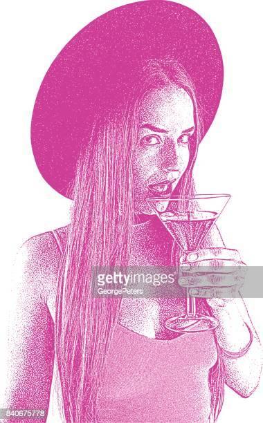 Schöne junge Frau, clubbing und einem Cocktail