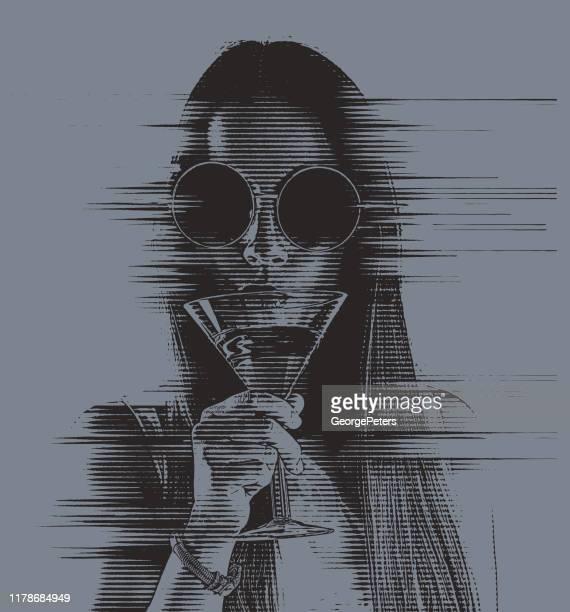 ilustrações de stock, clip art, desenhos animados e ícones de beautiful young woman drinking martini with glitch technique - mulher fatal