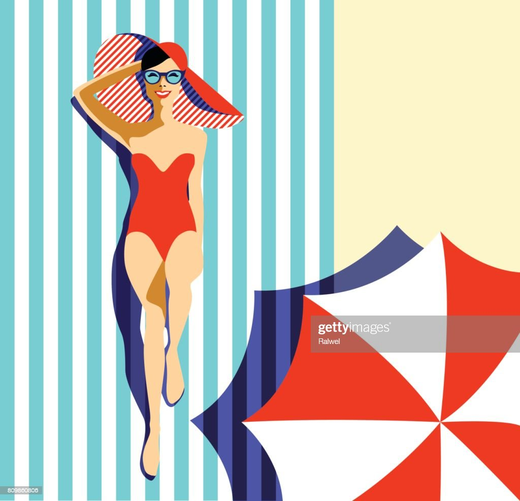 Beautiful young woman tanning, with sunglasses, hat, retro style. Pop art. Summer holiday.