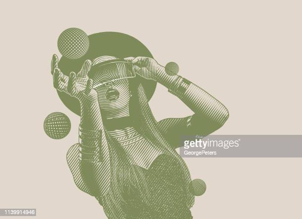 beautiful young woman using virtual reality simulator and reaching - desaturated stock illustrations, clip art, cartoons, & icons