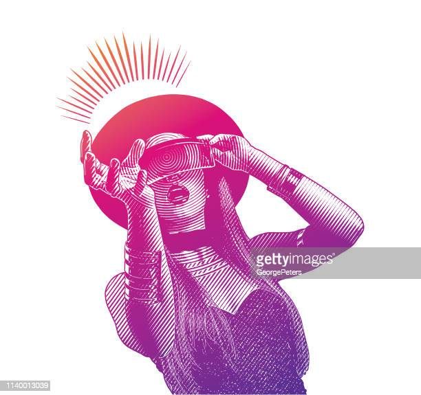 illustrazioni stock, clip art, cartoni animati e icone di tendenza di beautiful young woman using virtual reality simulator - realtà virtuale