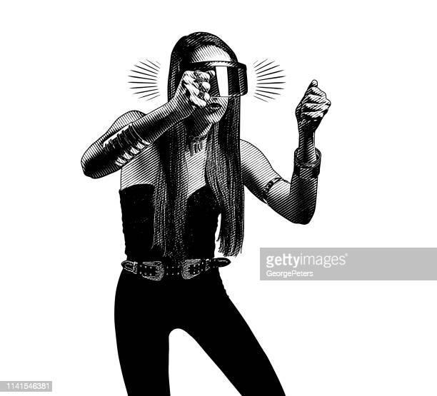 ilustraciones, imágenes clip art, dibujos animados e iconos de stock de hermosa mujer joven usando simulador de realidad virtual - piloto de coches de carrera