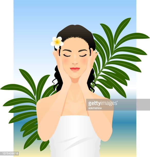 beautiful young woman - eyes closed stock illustrations, clip art, cartoons, & icons