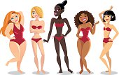 Beautiful young women of a different nationality in bikini.