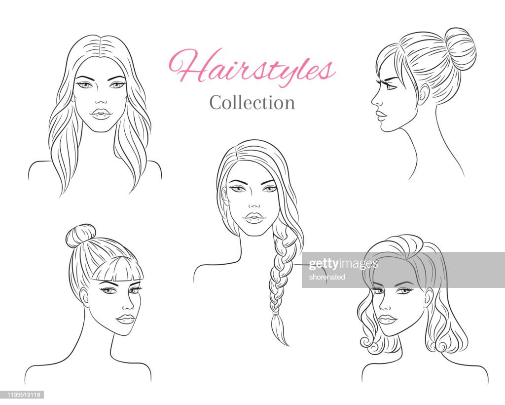 Beautiful young women with fashion trendy hairstyles. vector sketch illustration.