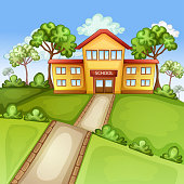 Beautifull ilustration with school building