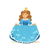 Beautifull little girl princess in a blue ball dress and golden crown, fairytale costume for party or holiday vector Illustration