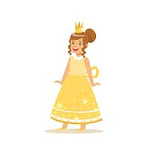 Beautifull little girl princess in a gold ball dress and golden tiara, fairytale costume for party or holiday vector Illustration