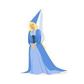 Beautifull princess in a blue ball dress and pointed hat, fairytale or European medieval character colorful vector Illustration