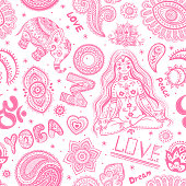 Beautifull seamless yoga pattern with ornaments and signs