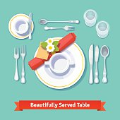 Beautifully served table. Formal dinner setting