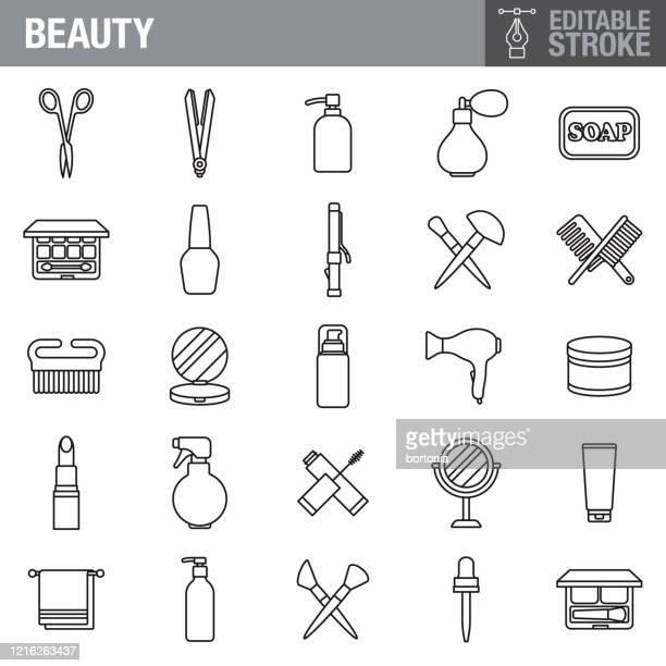 schönheit und kosmetik editierbarstrich icon set - schönheit stock-grafiken, -clipart, -cartoons und -symbole