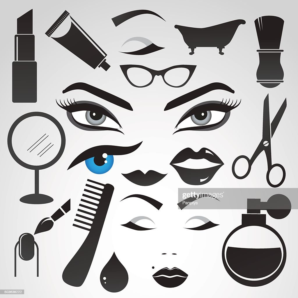 Beauty and cosmetics icon set.