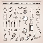 Beauty and cosmetics vector doodles icons