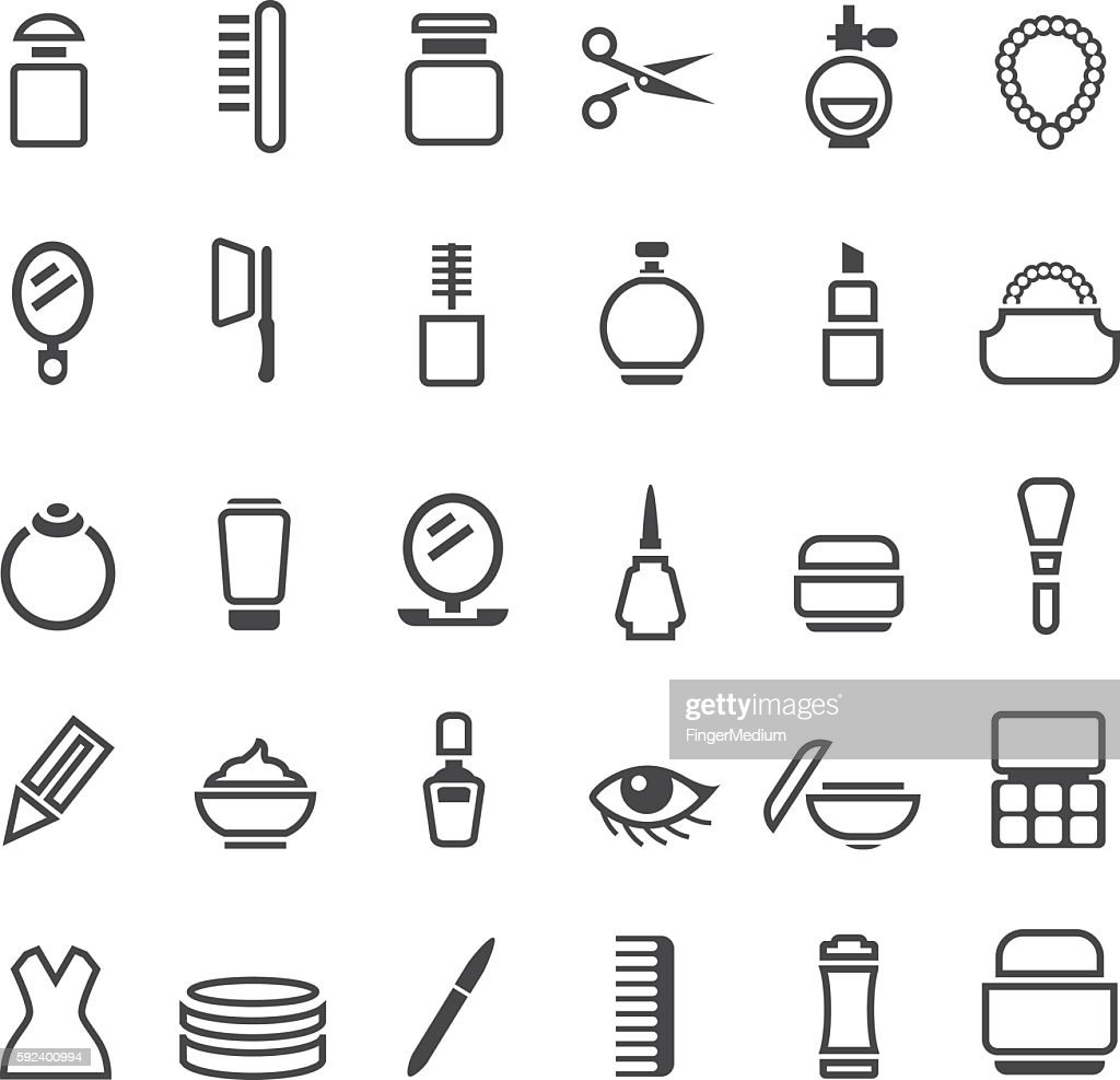 Beauty and makeup icons set : stock illustration