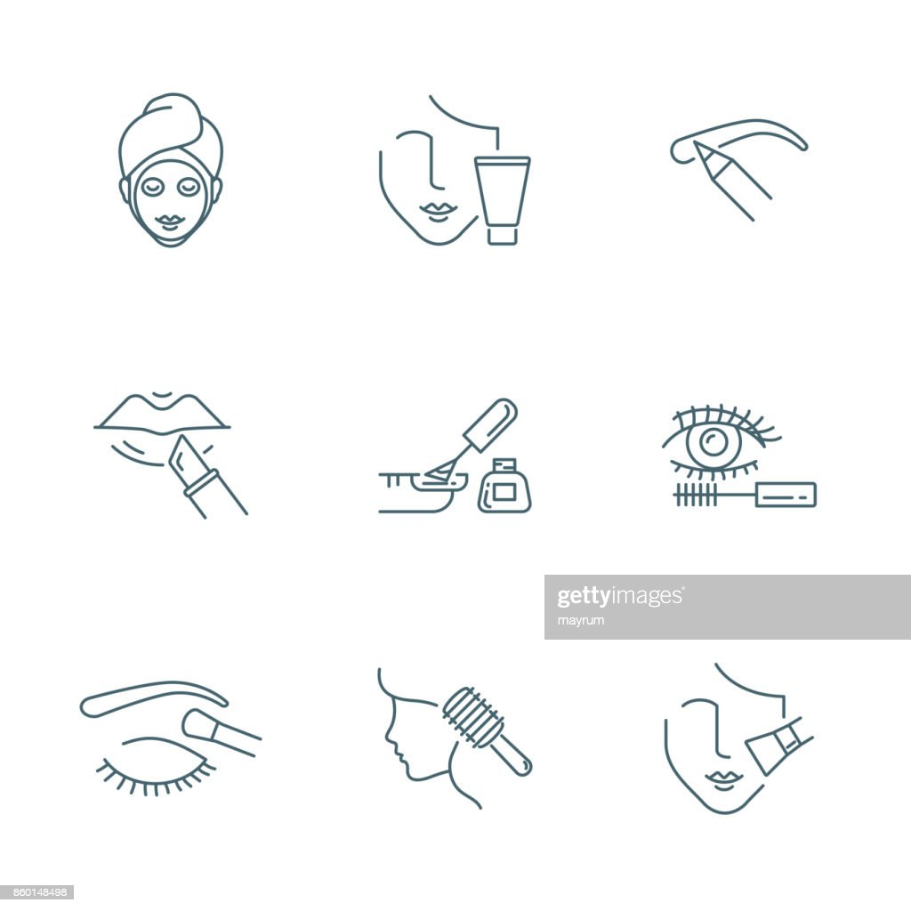 Beauty and makeup vector icons set