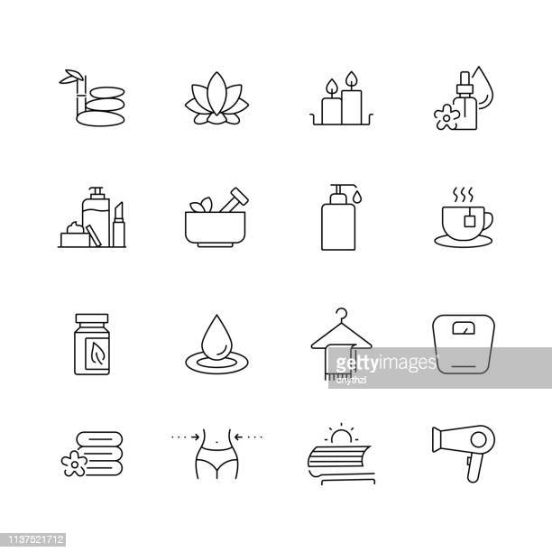 beauty and spa - set of thin line vector icons - aromatherapy stock illustrations, clip art, cartoons, & icons