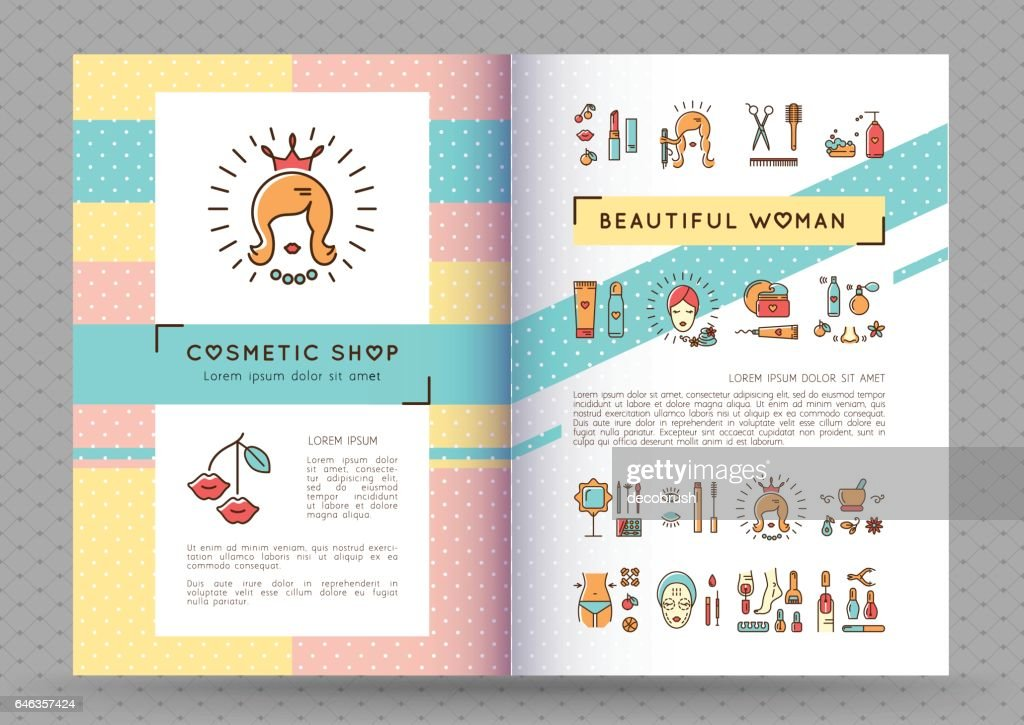 Beauty banner Cosmetic brochure catalog Beautiful woman vector
