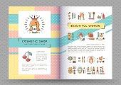 Beauty banner Cosmetic brochure catalog Beautiful woman vector