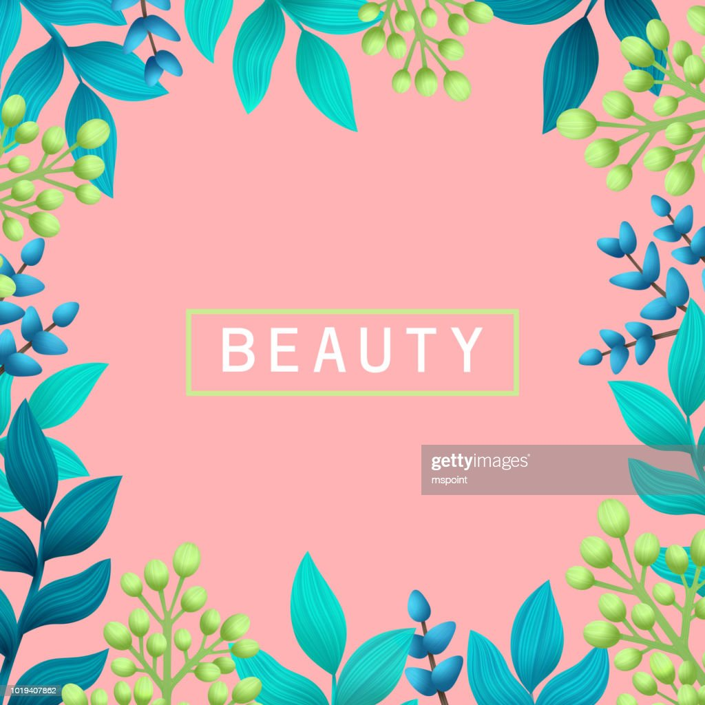 Beauty concept. Herbal pre-made composition. Natural products and cosmetics. Summer wild herbs with space for your text on pink background. Healing Herbs for cards, package, banners, label design. Vector