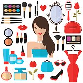 Beauty, Cosmetic and Makeup Vector flat Icons.