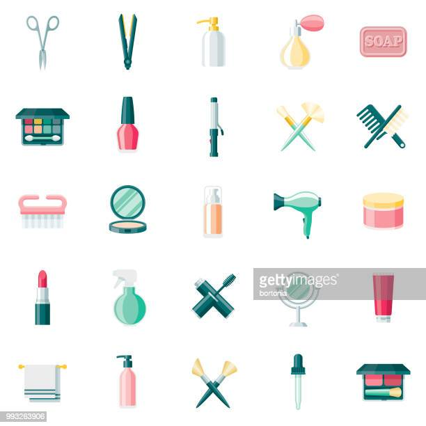 beauty & cosmetics flat design icon set - body care stock illustrations