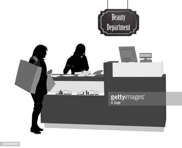 beauty department store - checkout stock illustrations, clip art, cartoons, & icons