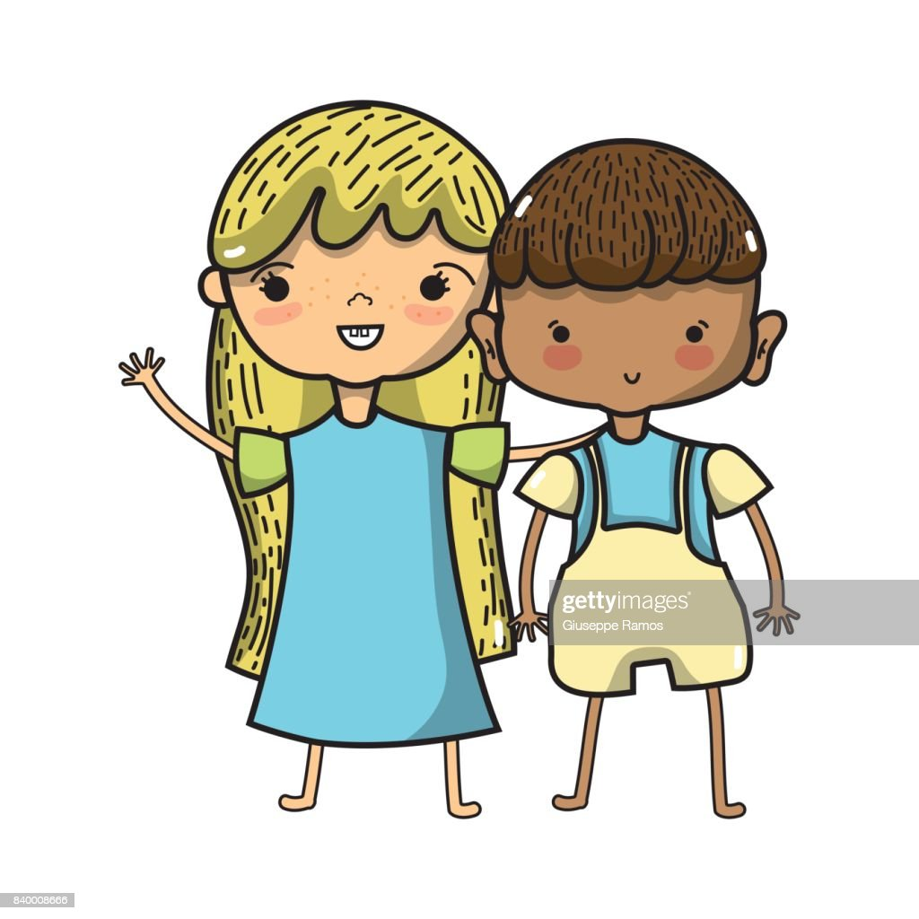 Beauty Girl And Boy Together With Hairstyle Stock Vector Getty Images